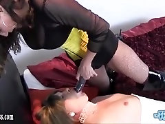 Horny dom with strapon fucks trannys ass while she wanks off