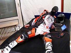 Motocross self bondage and estim