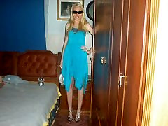 Pictures of blonde girl in different dresses