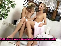 Claire and Lena stunning lesbian teens teasing