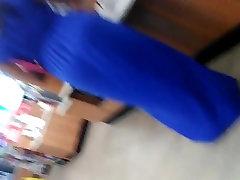 Big booty mom with vpl blue dress