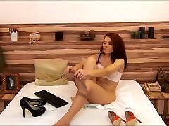 Girl putting on pantyhose 02
