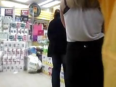 Black Lace Bra under white top tight arse secretary shopping