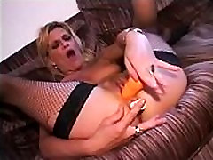 sexy blonde hairy milf masturbate with vibrator and dildo and final bukkake together