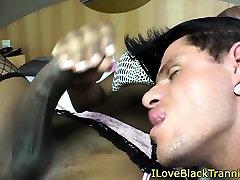 Ebony TS assfucking dude and facializing him