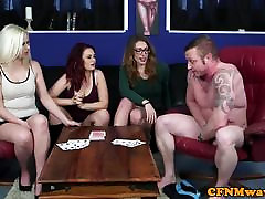 CFNM fake help for fuck sucking and tugging subs dick