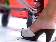 Candid Open High Heels In Supermarket