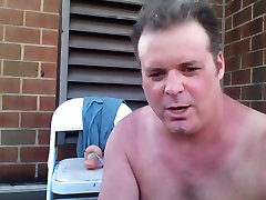 JoeyD Anal Beads n Giant Fake Cock Outside lovely