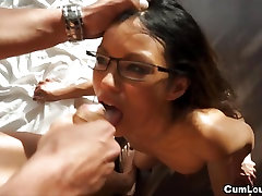 Asian cutie Lady Mai gets fucked hard and swallows cum