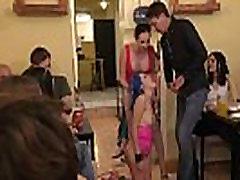 Slave in restraints walked naked outdoor