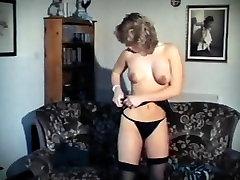 Vintage college girl schoolgirl striptease stockings