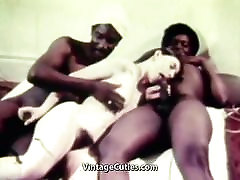 Young White Teen Girl with two Older Black Dudes Vintage