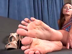 Hot Brunette Shows her Teen Feet