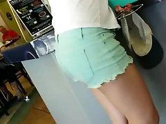 asian teen round ass in jean shorts voyeur