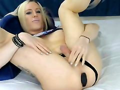 Sexy Playful Blonde Masturbates Her Cock and Ass