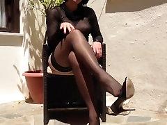 anett larmann in black stockings