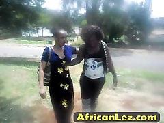 Lusty ebony lesbians have great time