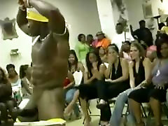 Male stripper showing his erection for ladies CFNM party