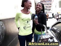 Ebony lesbians taking shower together