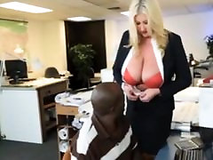Bbw milf boss seduces her black employee