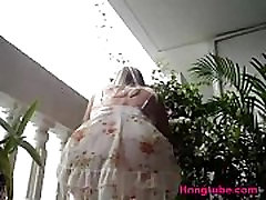 Blonde milf in short dress with no panty upskirt caught on hidden cam