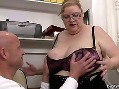 Big tits woman in glasses rides his dick