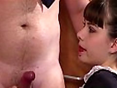 Euro femdoms jerking sub in cfnm threeway