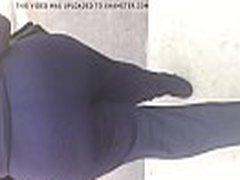 Huge booty BBW MILF in tight dark blue outfit 1