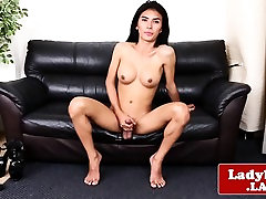 Real ladyboy playing with her cock and balls