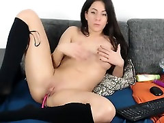 Leigh Darby masturbation in black stockings