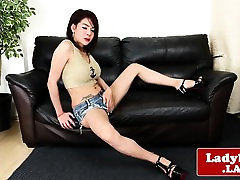 Foxy bigtitted ladyboy solo tugging hard cock
