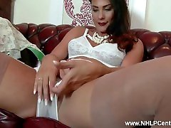 Brunette big tits Roxy Mendez fingers pussy in nylons lingerie high heels
