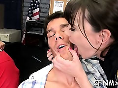 Hot aged honey gives a hand and blowjob during cfnm sex