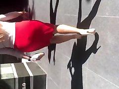 Big Booty Latina MILF in tight red dress