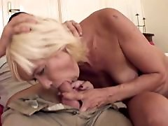Sexy blonde mature fucks a young guy