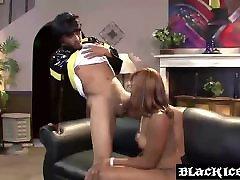 Ebony MILF slut Elena Love slobbering on a long black boner