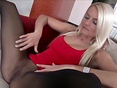 Nice girl in black sheer pantyhose at home