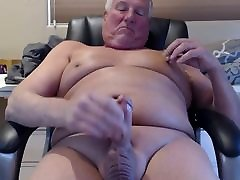 Stroking my shaved body and cock to a creamy completion