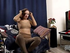 Eva Berger is ready for another nylon encasement session