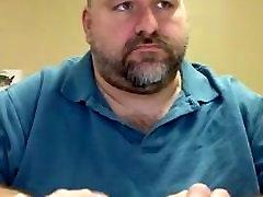 Horny fat daddy bear at work