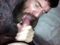 Tatted up Daddy showing off his awesome throat skills