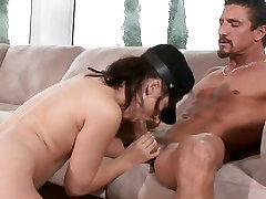 Deep throating babe Kristina Rose sucks on a thick cock with her warm mouth
