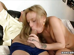 Sexy bitch Holly Wellin attempts deep throat on monster cock and gags