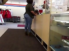 Huge Ass Ebony Tight Jeans Checking Out