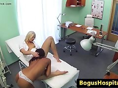 Ebony euro patient pussy licking nurse