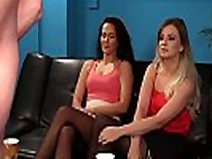 Clothed femdoms humiliating naked sub