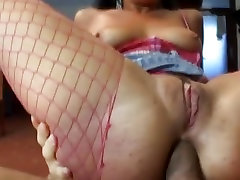 Filthy bitch Priscilla gets throat fucked before getting double penetrated