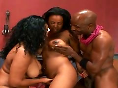 Two Hot Ebony Share In One Cock