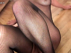 Blonde mature mom at fishnet getting an orgasm