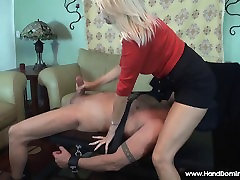 MILF gives femdom handjob too much bigger than her Ex